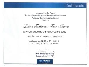 Certificado Conclusão Curso Gestão para o Baixo Carbono