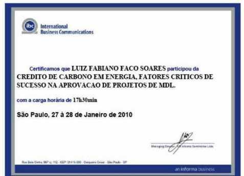Certificado de Participação: CRÉDITO DE CARBONO EM ENERGIA,  FATORES CRÍTICOS DE SUCESSO NA APROVAÇÃO DE PROJETOS DE MDL em 27 e 28  de Janeiro de 2010