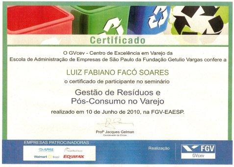 Certificado Gestão de Residuos e Pós-Consumo no Varejo - FGV EAESP