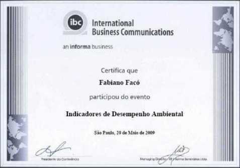 Indicadores de Desempenho Ambiental IBC - 20 de Maio de 2009