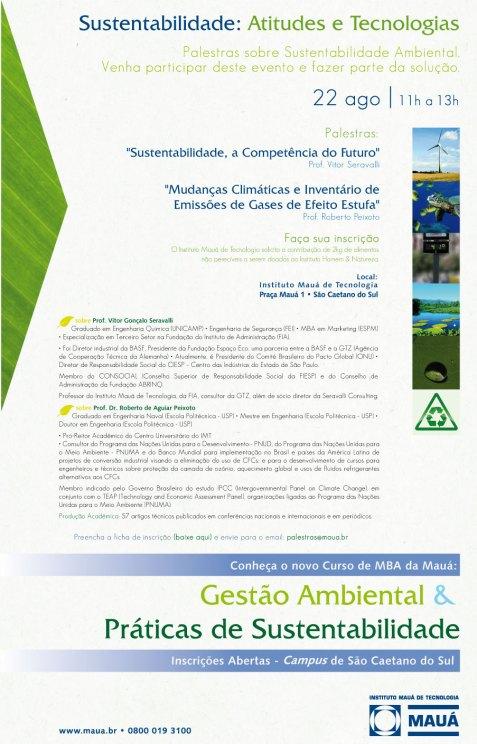 Palestra Sustentabilidade: Atitude e Tecnologias - 22/agosto/2009