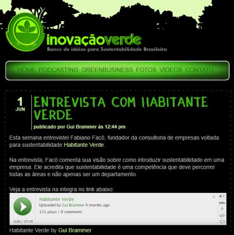 Entrevista para o Programa Inovação Verde