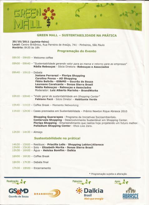 1o. Seminário Green Mall - Sustentabilidade na Prática